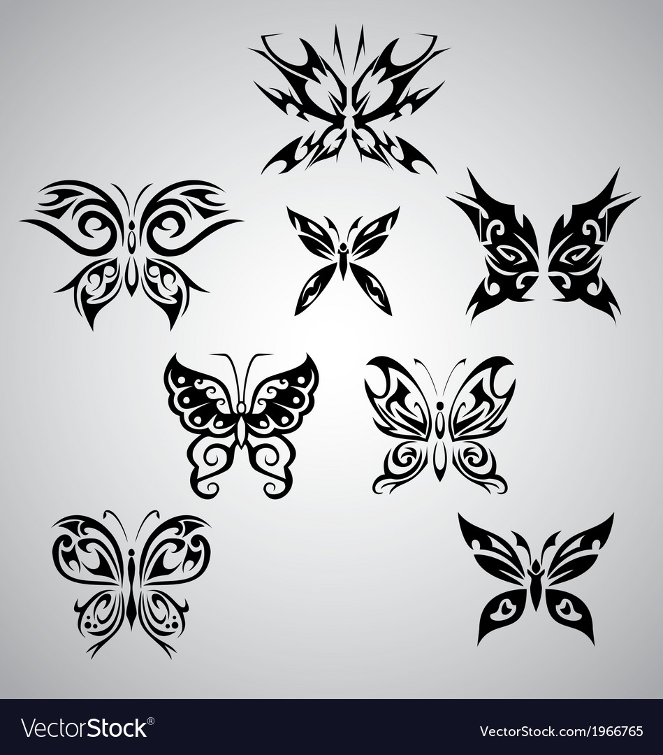 Tribal Butterfly Set Royalty Free Vector Image