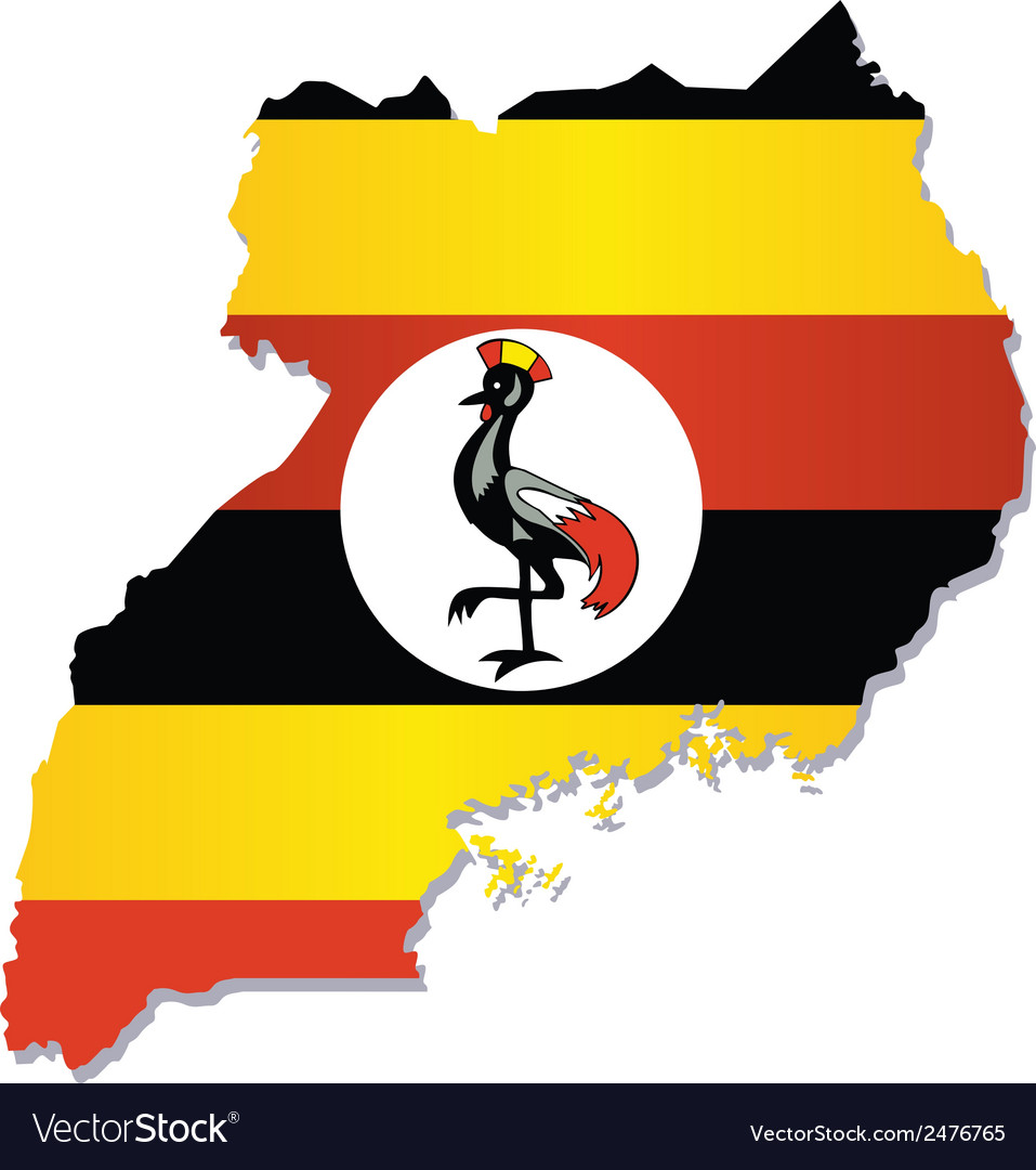 Uganda Africa Map Flag Royalty Free Vector Image