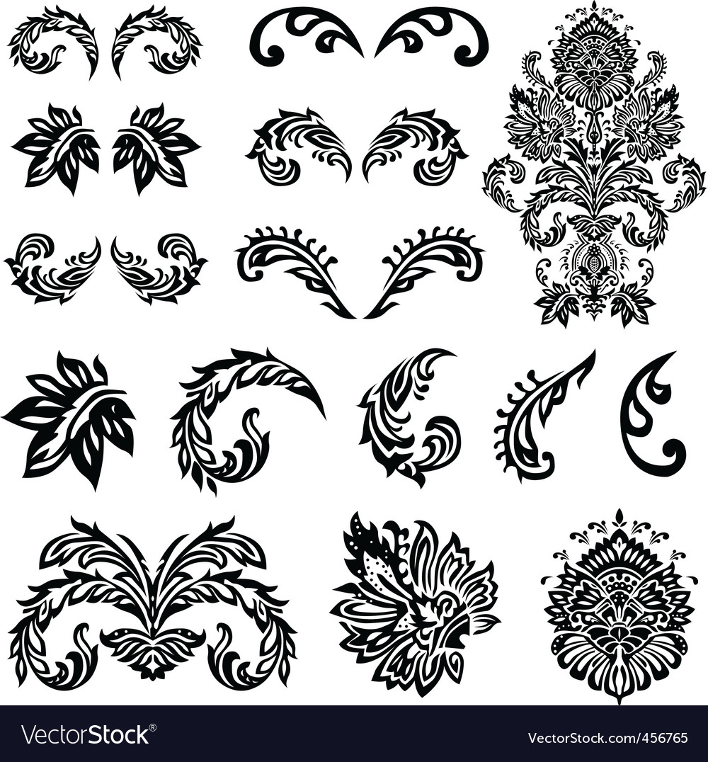 Vector Victorian Ornament Set Royalty Free Vector Image