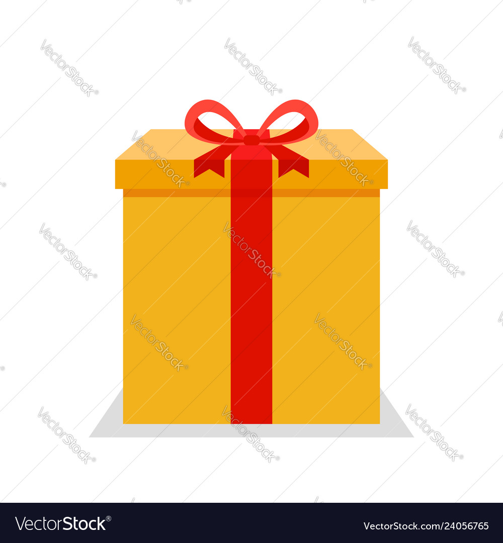Yellow flat present box with red bow
