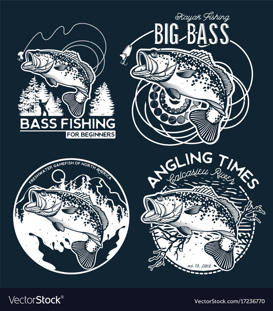 Bass fishing emblem on black background vector image