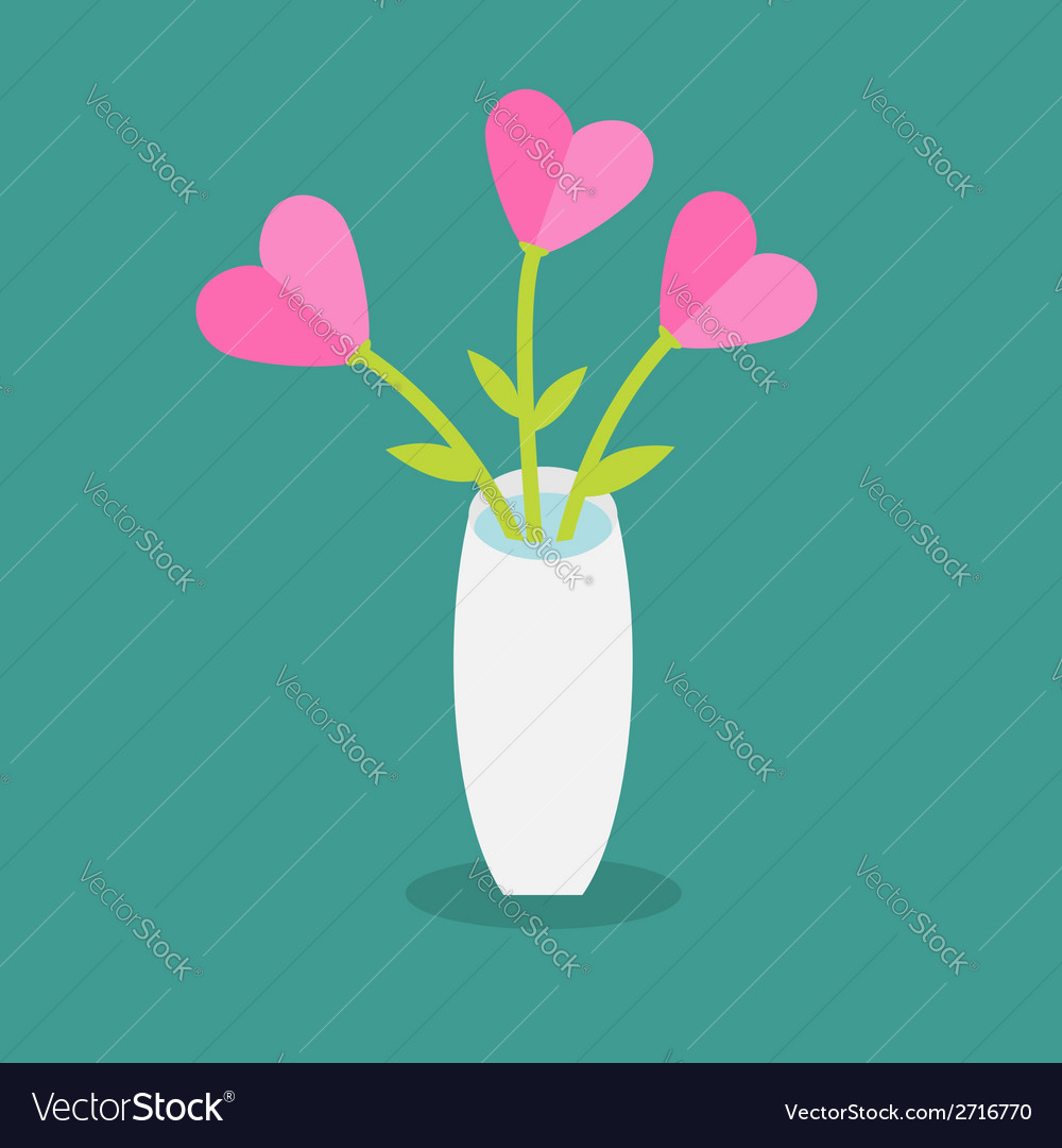 Bouquet Of Pink Heart Flowers In A Vase Flat Vector Image
