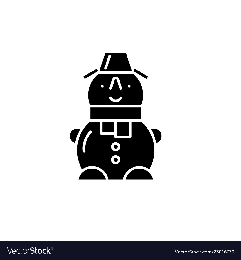 Cute snowman black icon sign on isolated