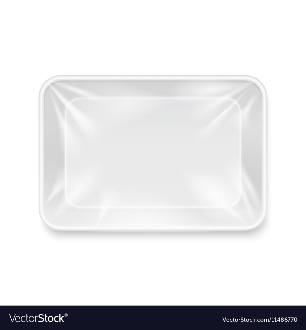 Empty white plastic food container packaging tray