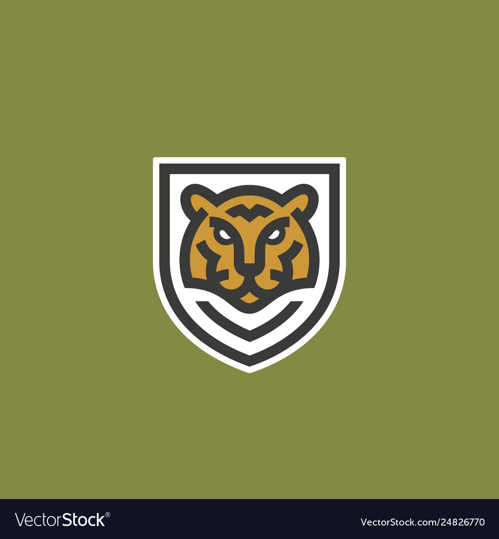 Minimalist line style tiger face shield abstract