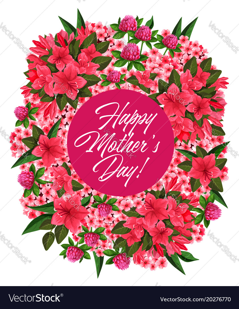 Remarkable Mother Day Pink Flower Wreath Greeting Card Design Funny Birthday Cards Online Fluifree Goldxyz