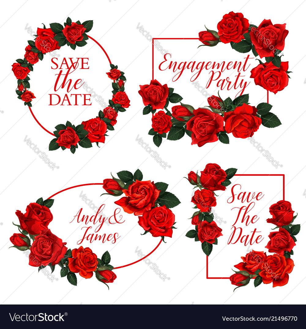 Red rose flower frame of wedding invitation design