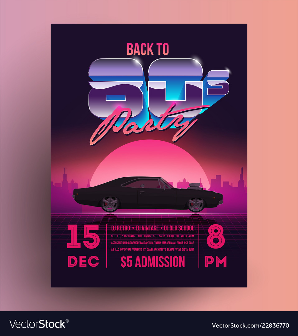 retro vintage 80s night party promotion flyer vector image
