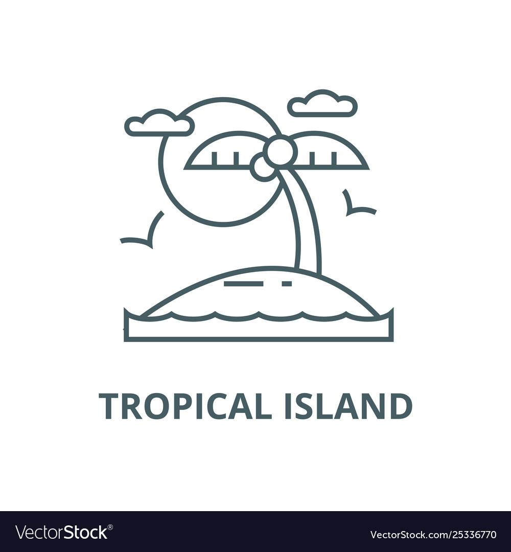 Tropical beach island line icon linear
