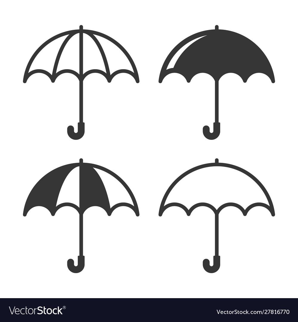 Umbrella simple icons set on white background