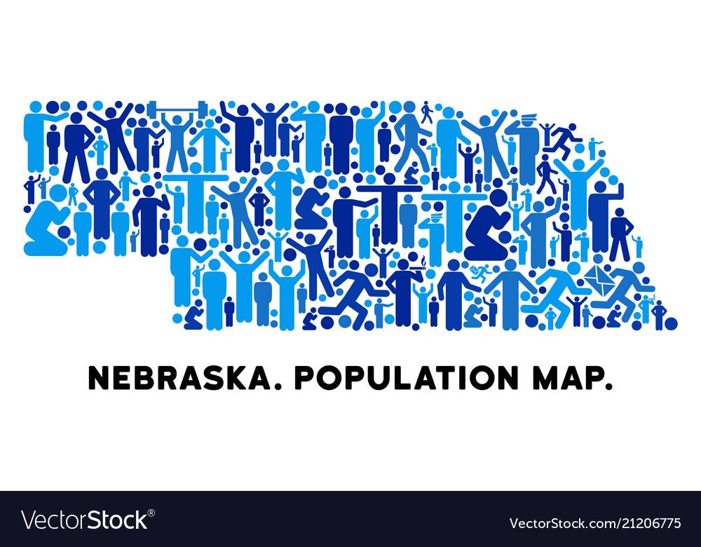 Demographics nebraska state map Royalty Free Vector Image