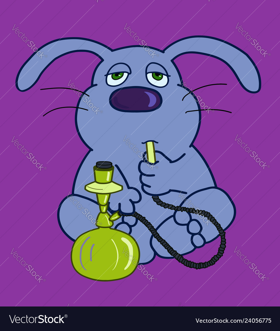 Hare character with a hookah vector image