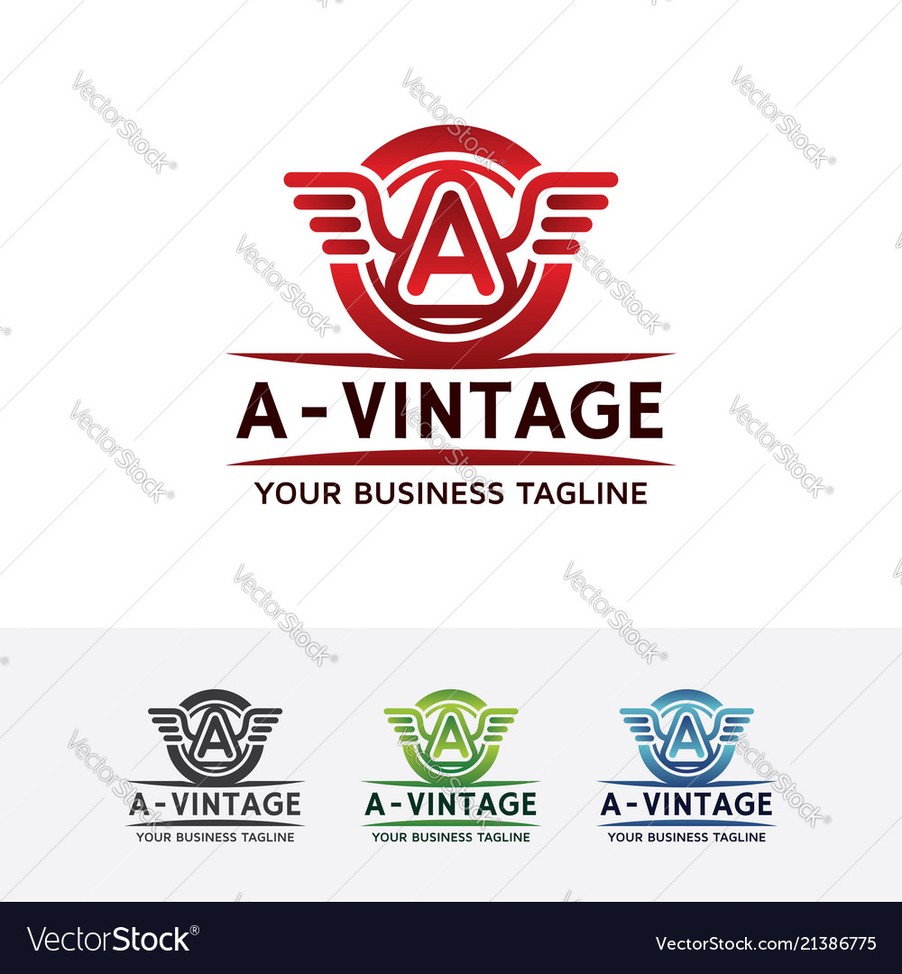 Logo vintage wings with letter a