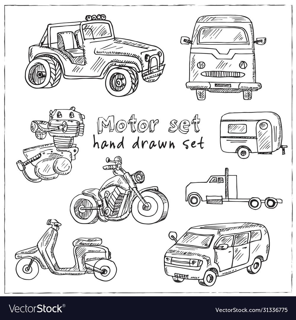 Motor hand drawn doodle set isolated elements