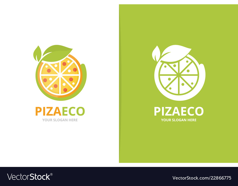 Pizza and leaf logo combination food and