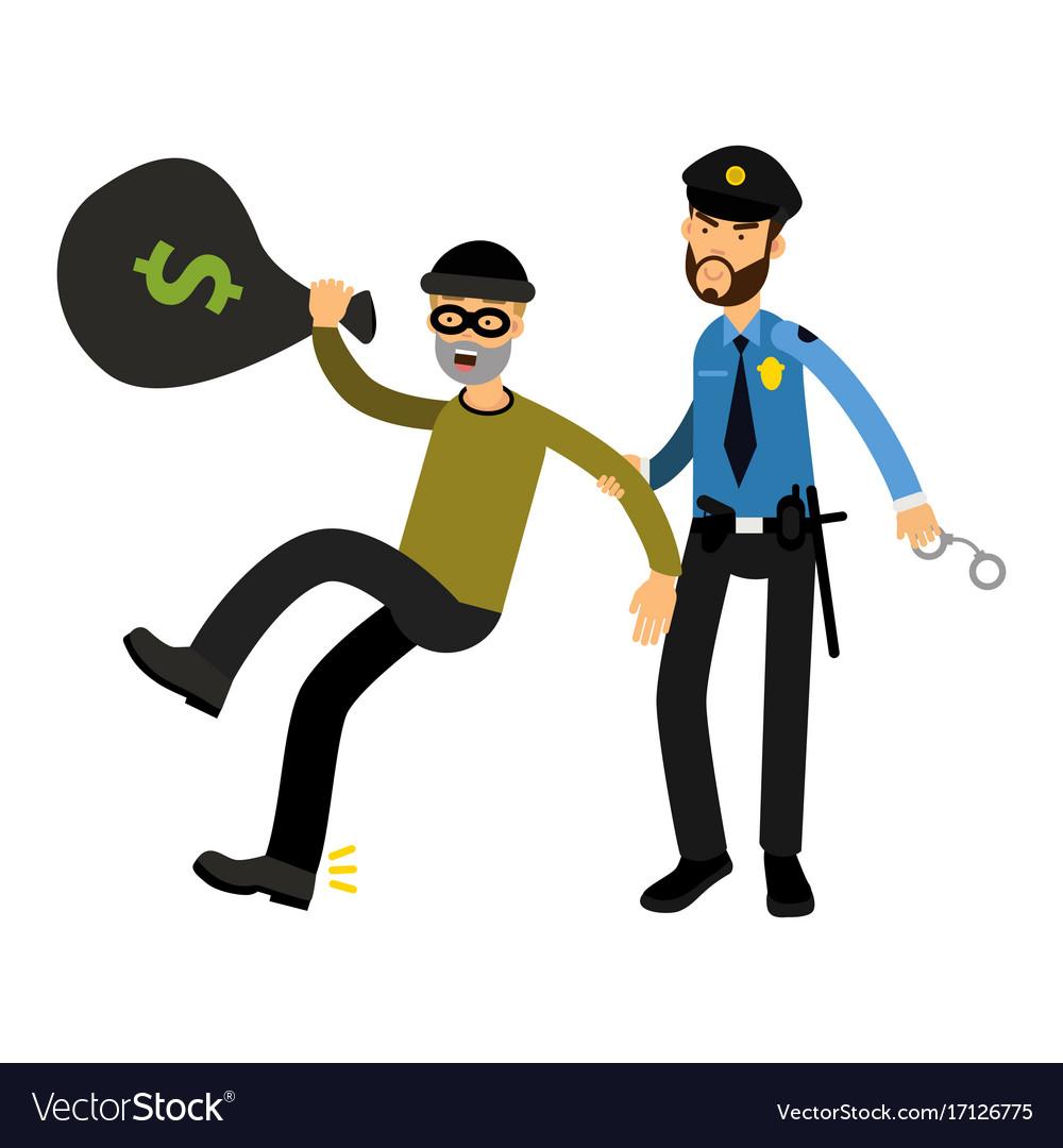 Police officer character arresting robber