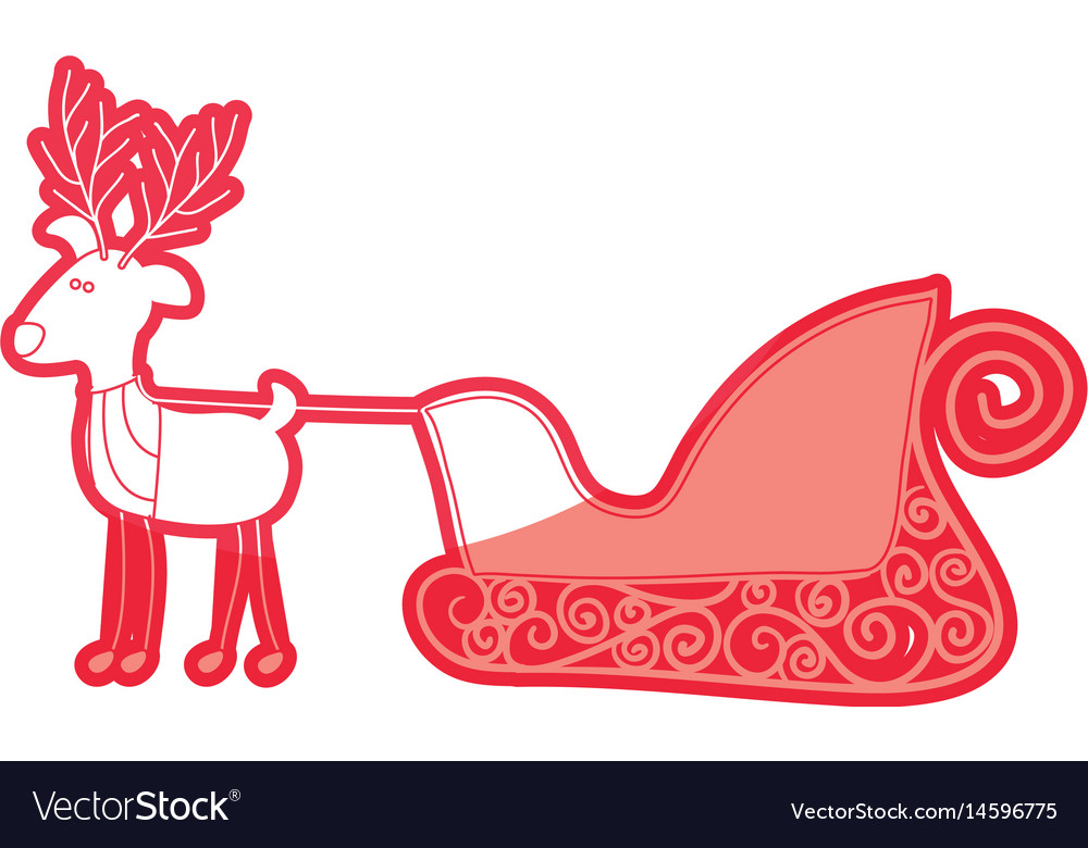 Red silhouette caricature reindeer with sleigh