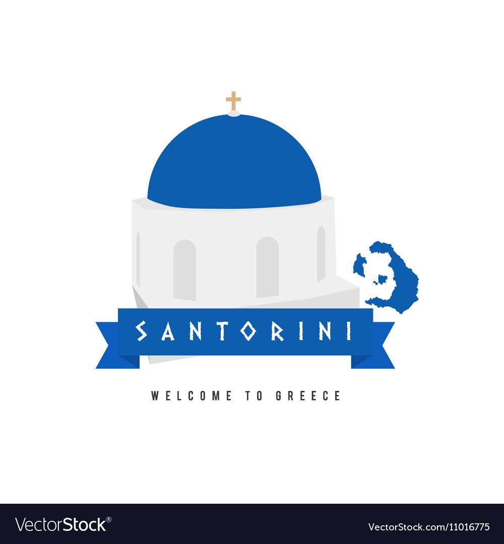 Santorini island greece symbol in blue and white