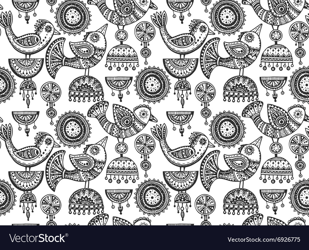 Seamless pattern with hand drawn fancy birds in