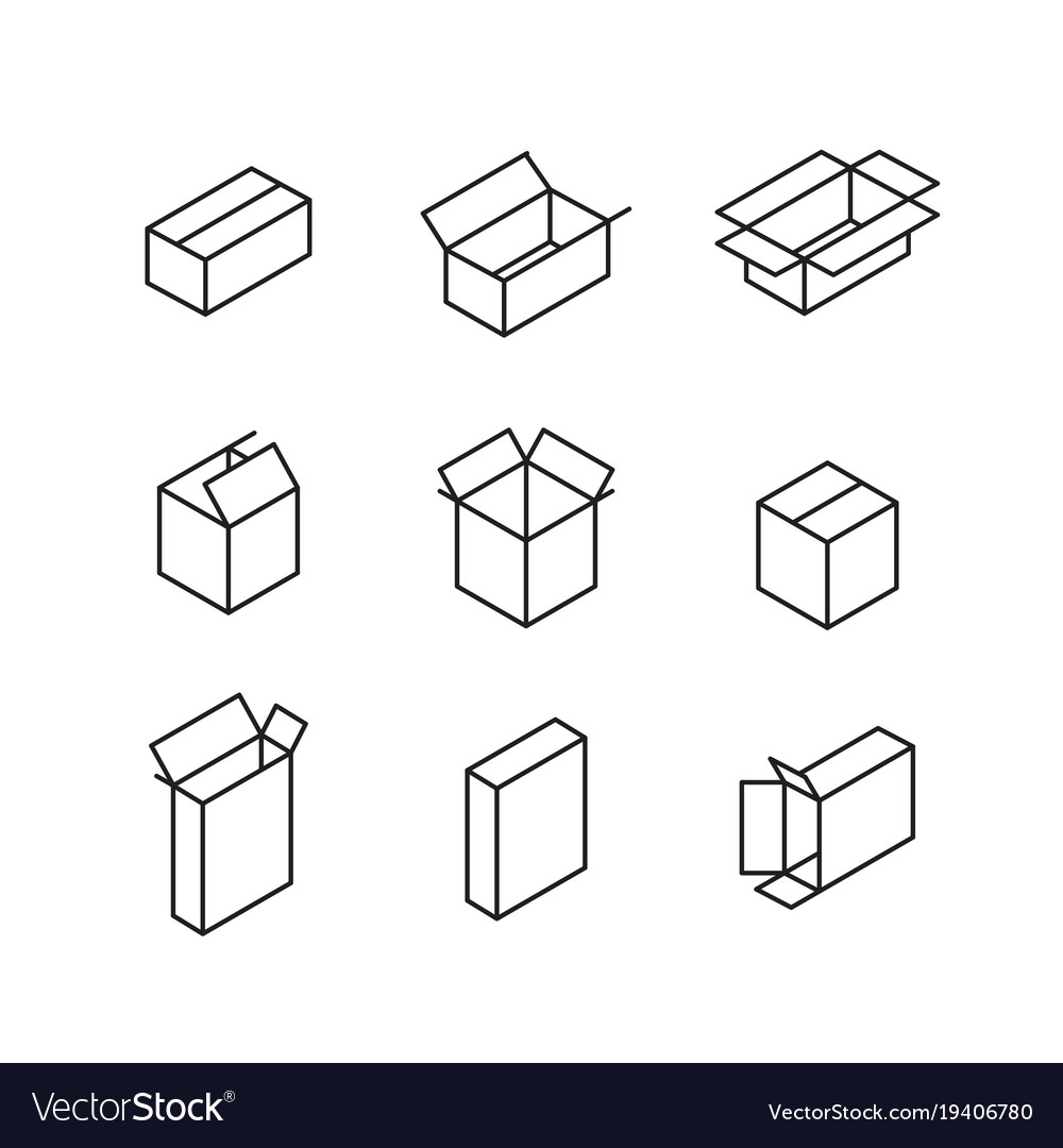 Box signs line icon set vector image