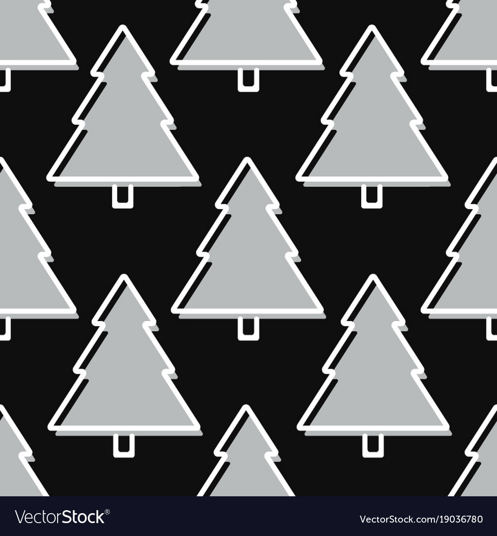 Christmas tree seamless pattern in grey