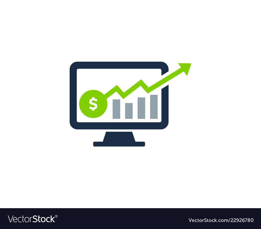 Computer stair stock market business logo icon