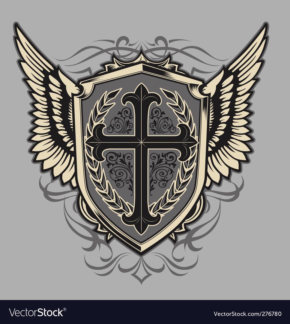 Cross shield vector image