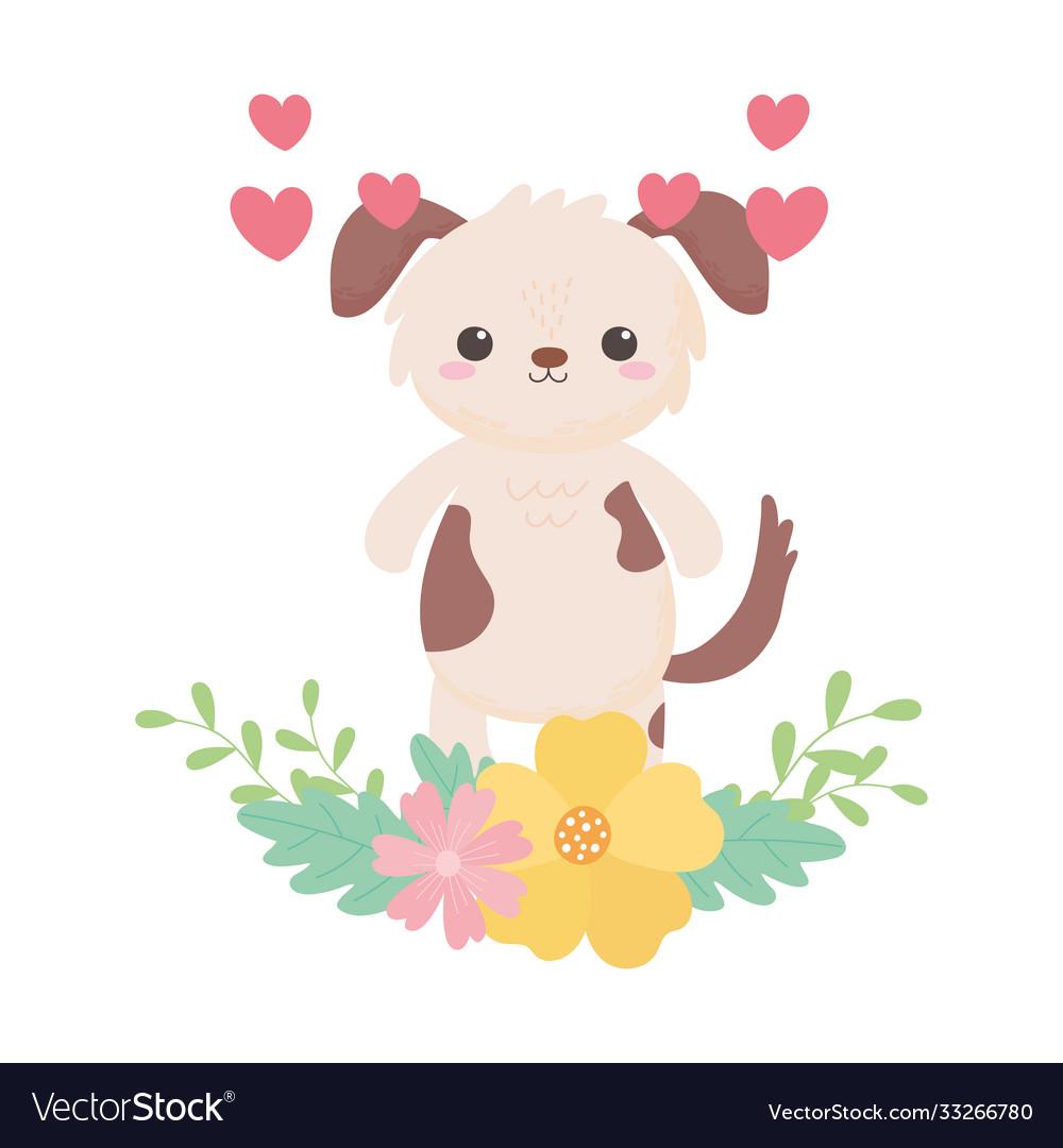 Cute little dog flowers hearts cartoon animal