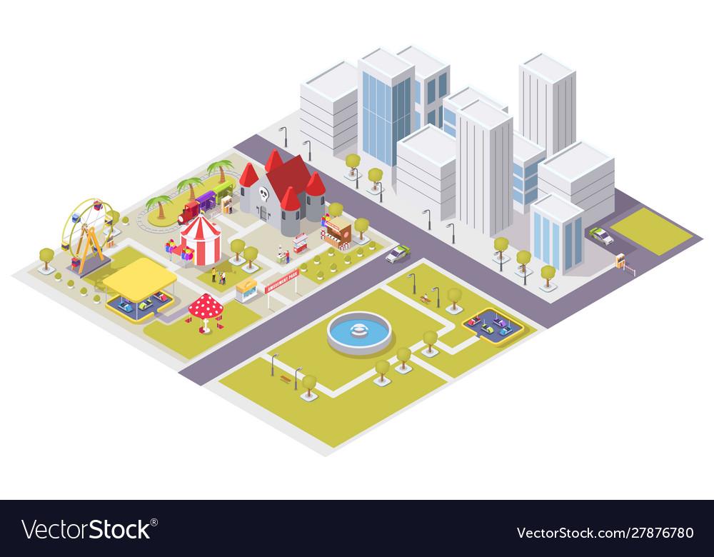 Flat isometric city with amusement park
