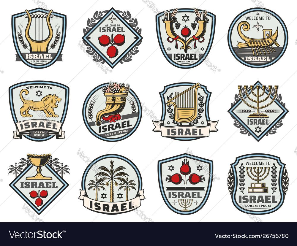 Israel symbols jewish religious and judaism signs