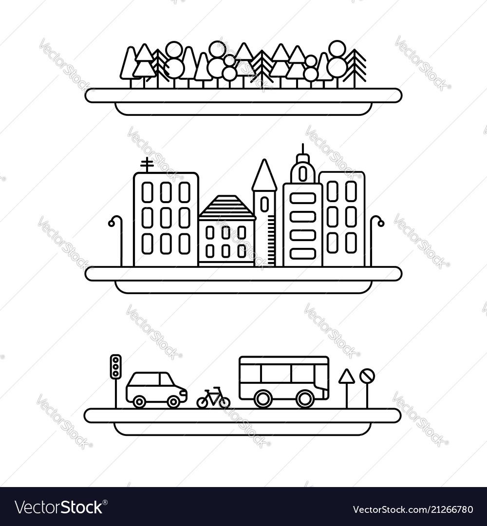 Linear landscape elements icons set