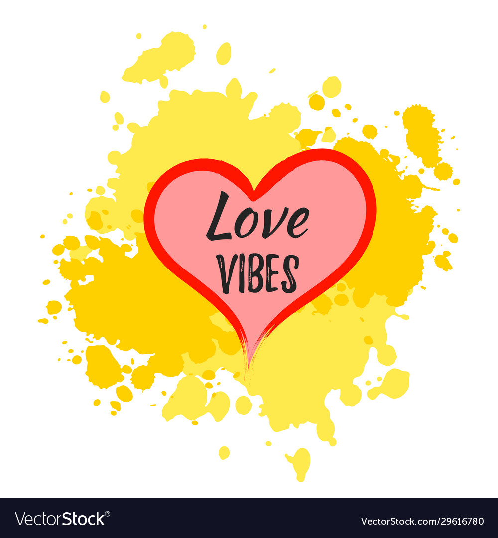 Love vibes heart shape with lettering over paint