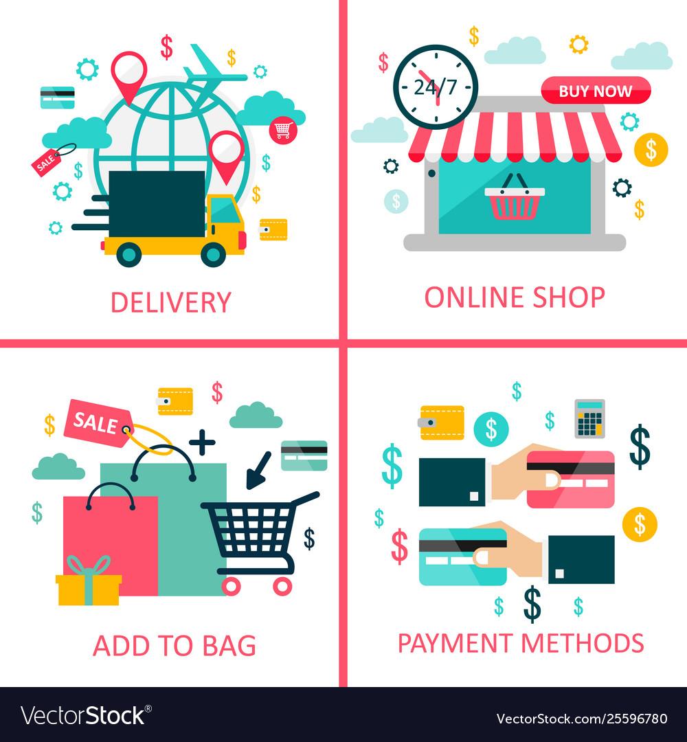 Online shoppingand e-commerce flat
