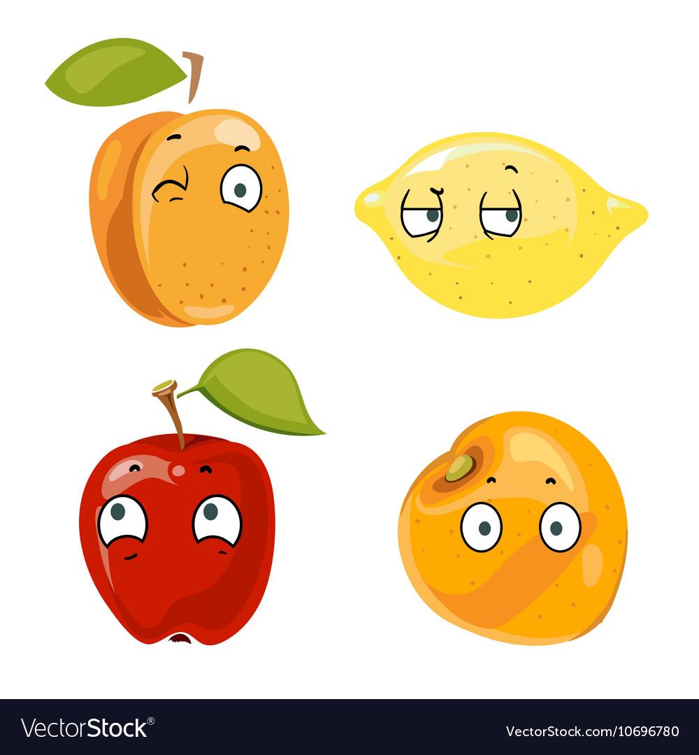 Peach lemon apple and orange faces