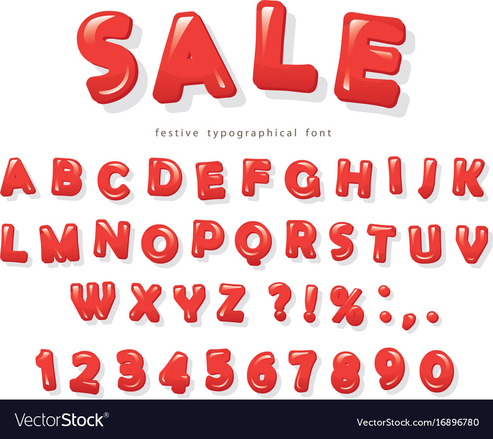 Red glossy letters and numbers with soft shadows vector image