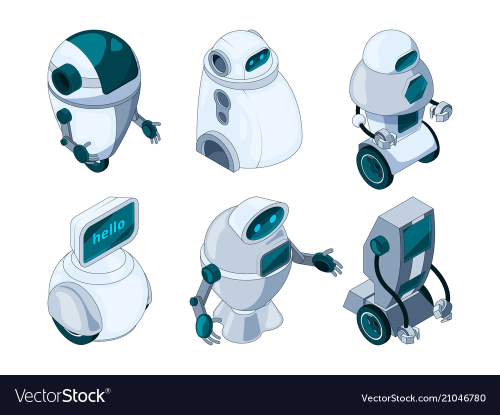 Robots assistant colored isometric pictures