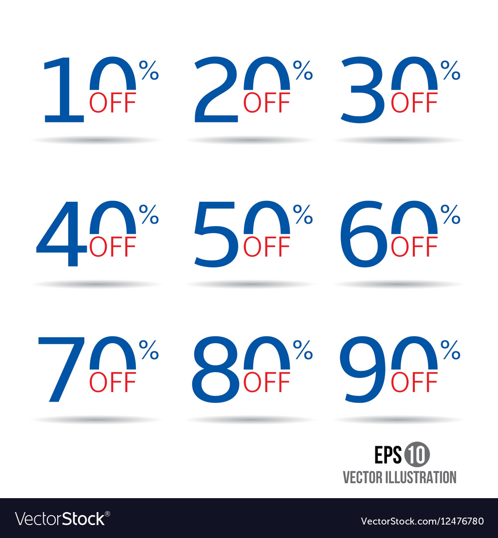 Sale and discount tag set Price off badge design vector image