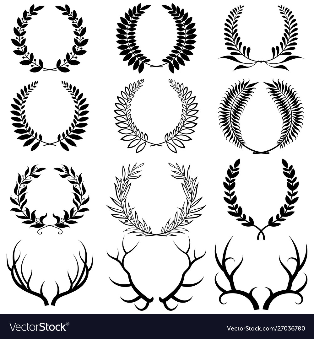 Set laurel wreaths collection wreaths from