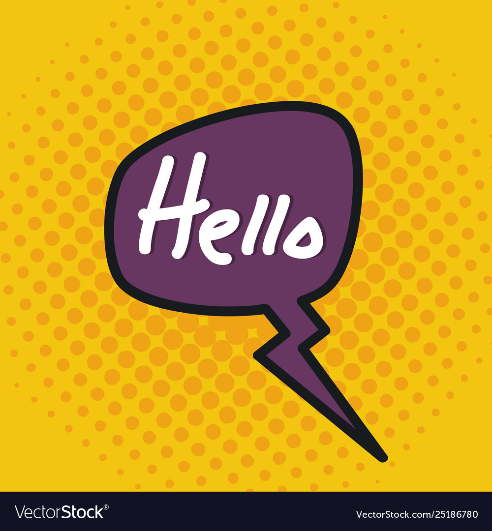 Speech bubble with hello message