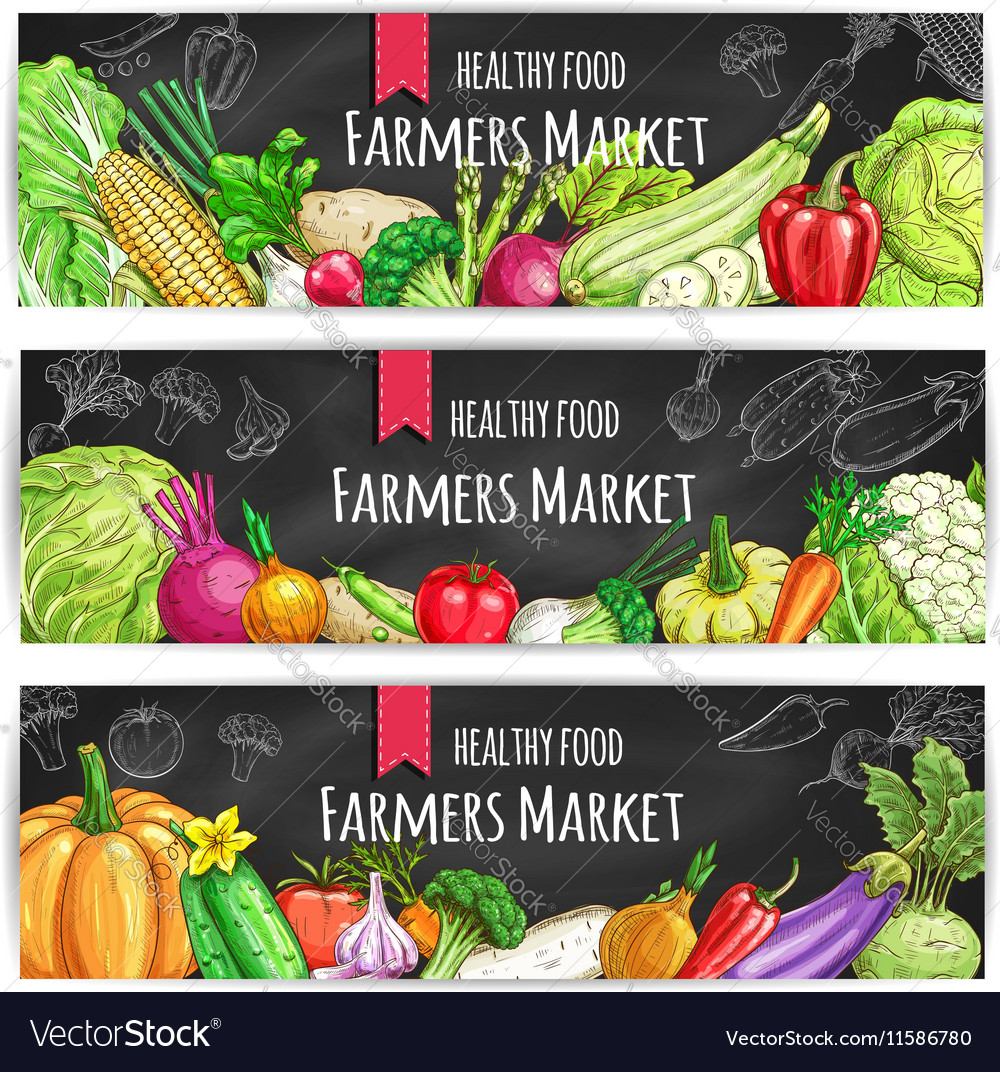 Vegetables Vegetarian food banners