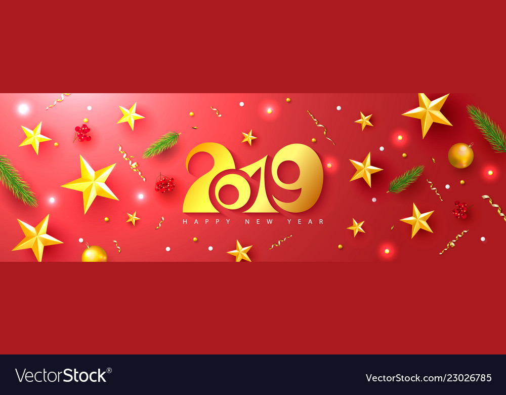 2019 happy new year universal red