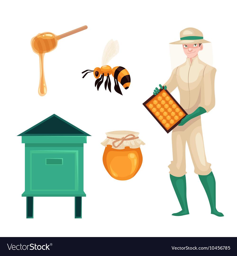 Beekeeper in protective suit bee honey jar and