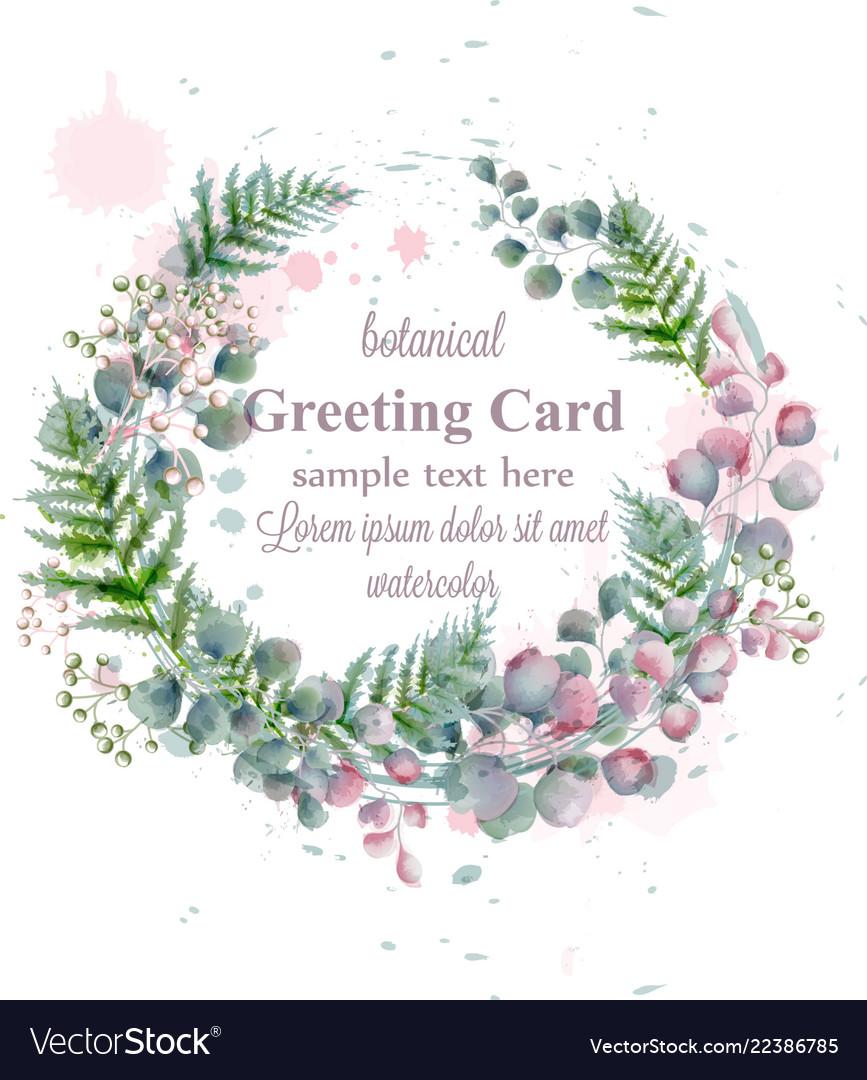 Botanical frame decor watercolor card