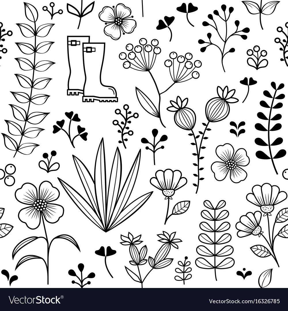 Botanical seamless pattern hand drawn wild flower