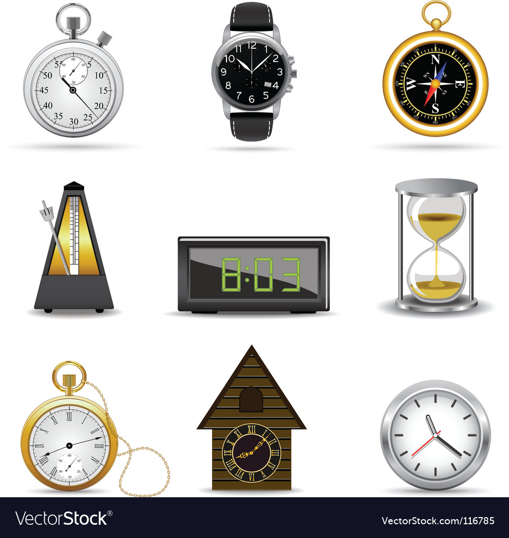 Clocks and timers vector image