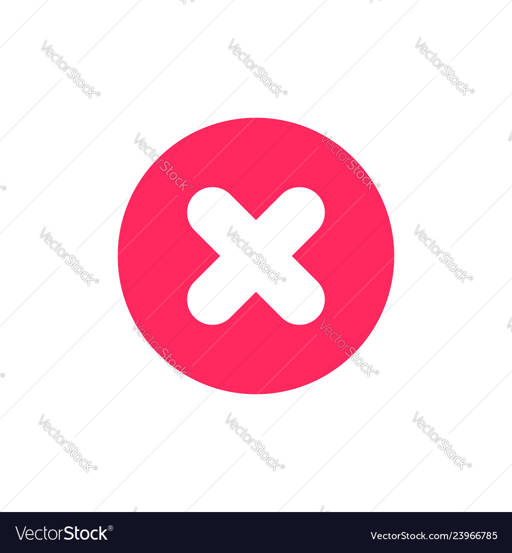 Flat icon of cross sign as error or cancel symbol