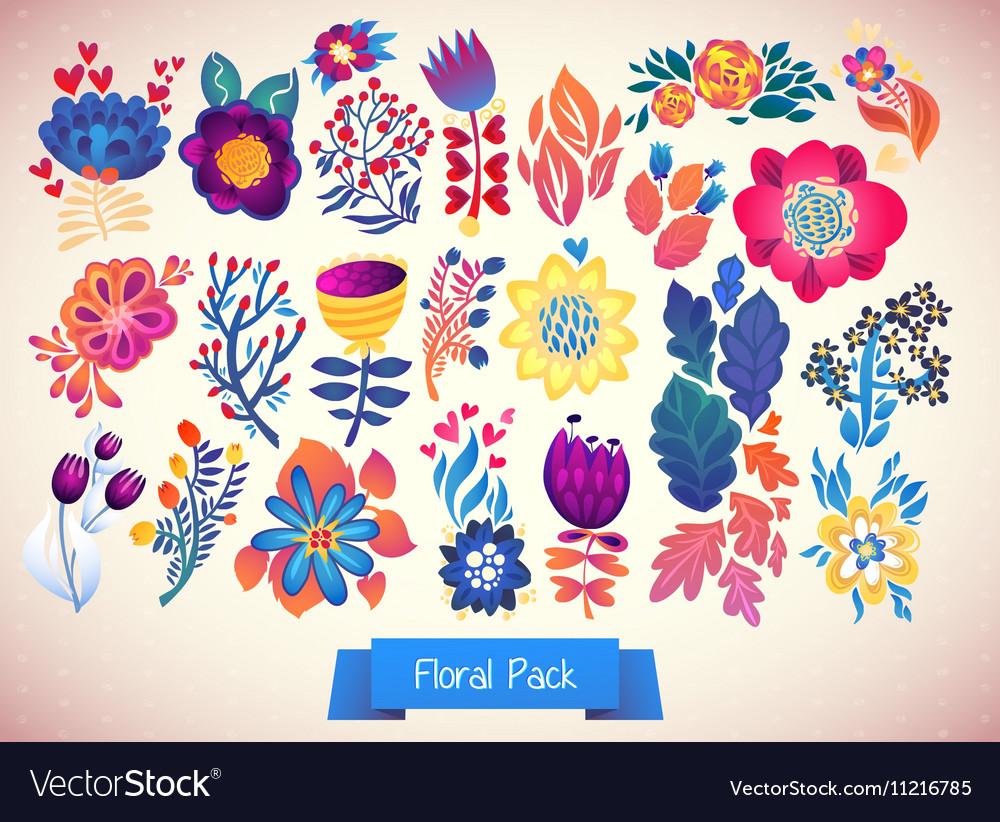 Flowers decorative set of doodle