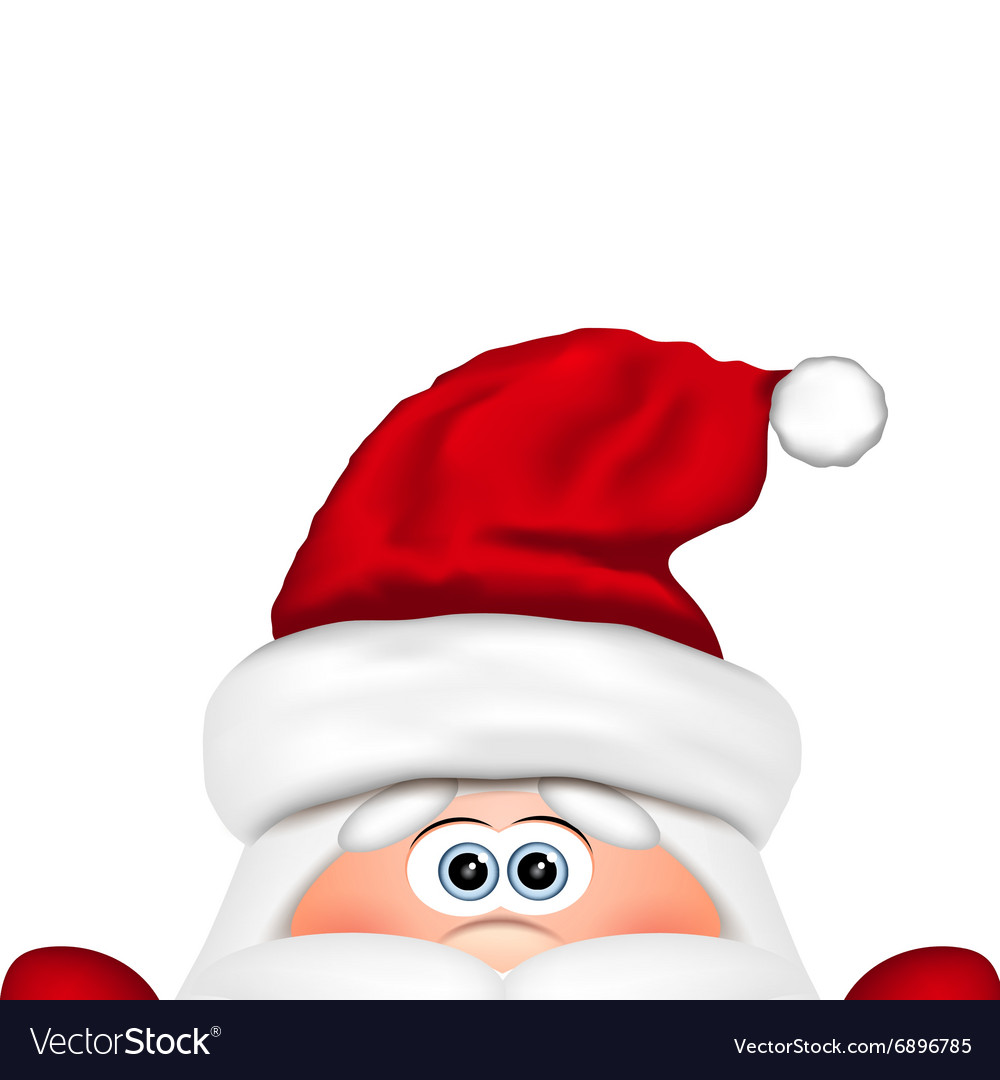 Funny Santa peeking out from bottom edge of the
