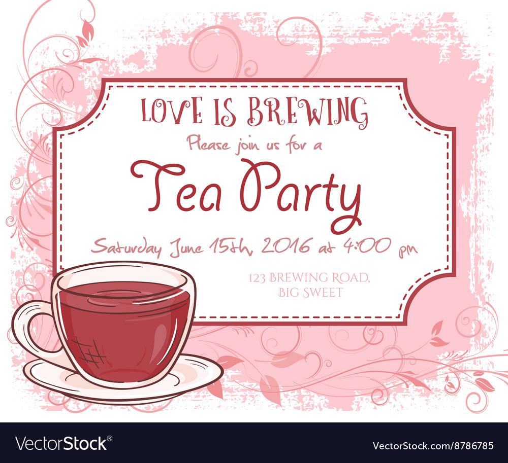 Hand Drawn Tea Party Invitation Card Vintage Frame