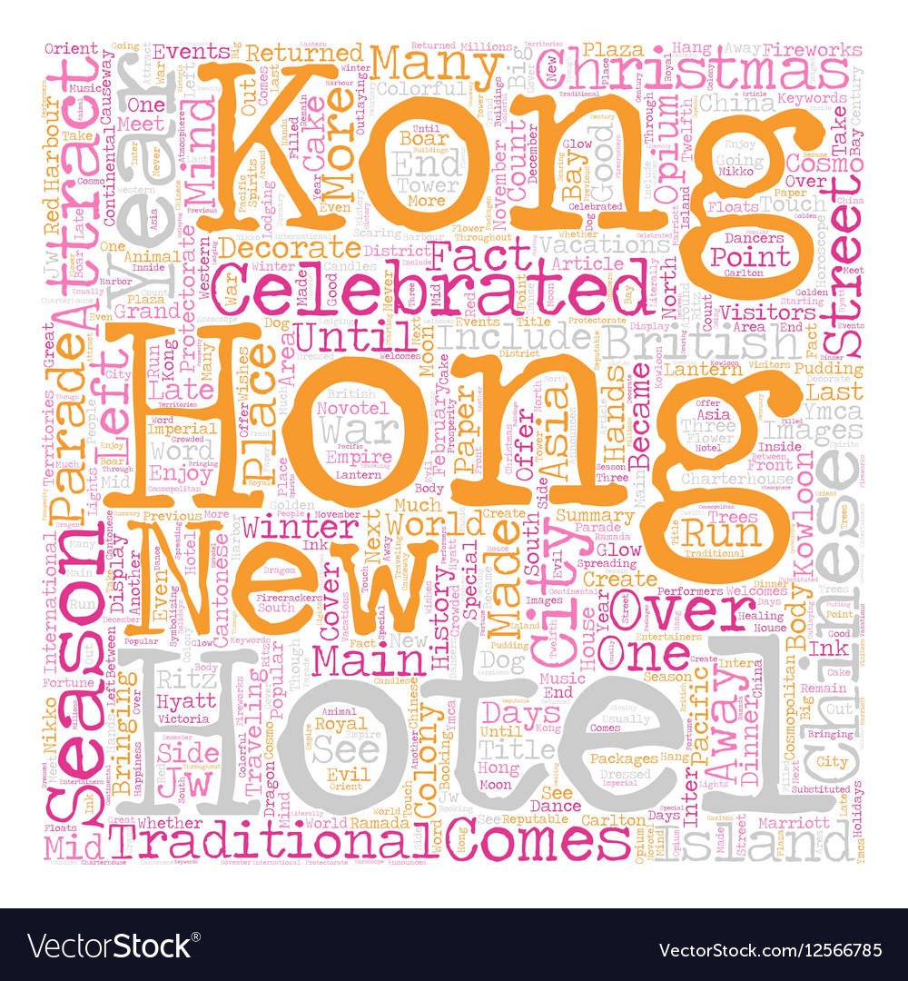 Hotels In Hong Kong text background wordcloud vector image